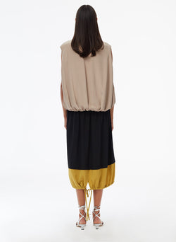 Eco Silk Cape Dress Latte Multi-3
