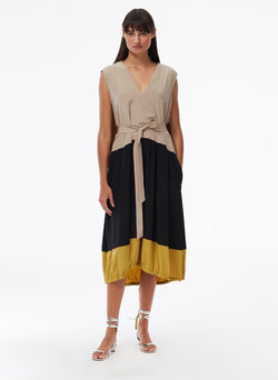 Eco Silk Cape Dress Latte Multi-5