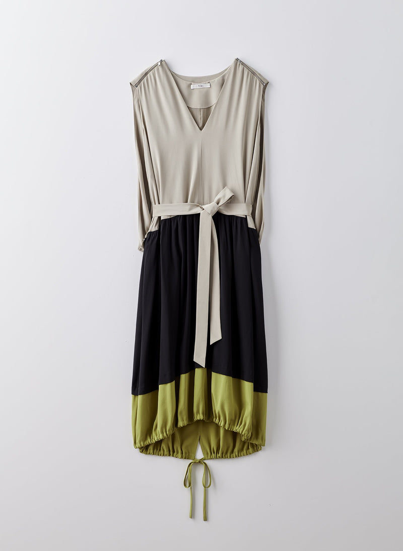 Eco Silk Cape Dress Latte Multi-8