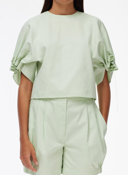 Harrison Chino Drawcord Sleeve Top Light Mint-4