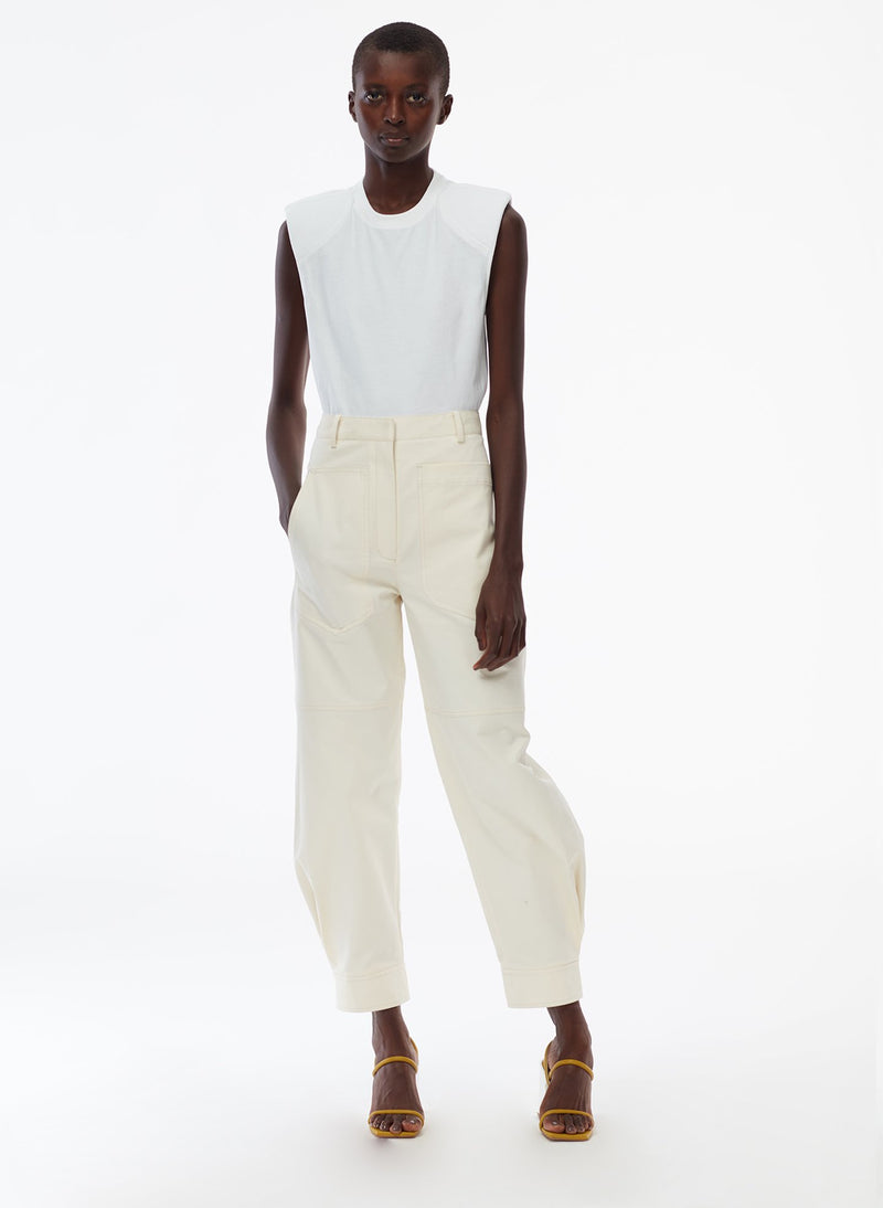 Myriam Twill Sculpted Pant Ivory-6