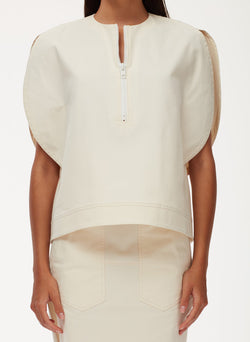 Myriam Twill Balloon Origami Top Ivory-5