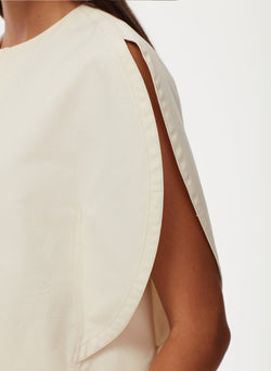 Myriam Twill Balloon Origami Top Ivory-6
