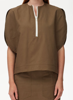 Myriam Twill Balloon Origami Top Utility Brown-12