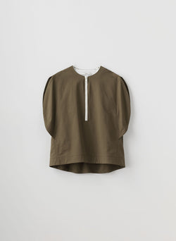 Myriam Twill Balloon Origami Top Utility Brown-16