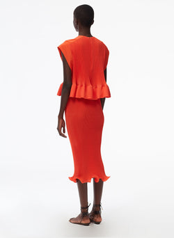 Pleated Dress Red Orange-3