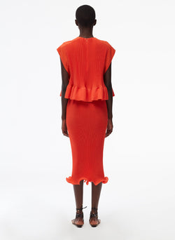Pleated Dress Red Orange-4