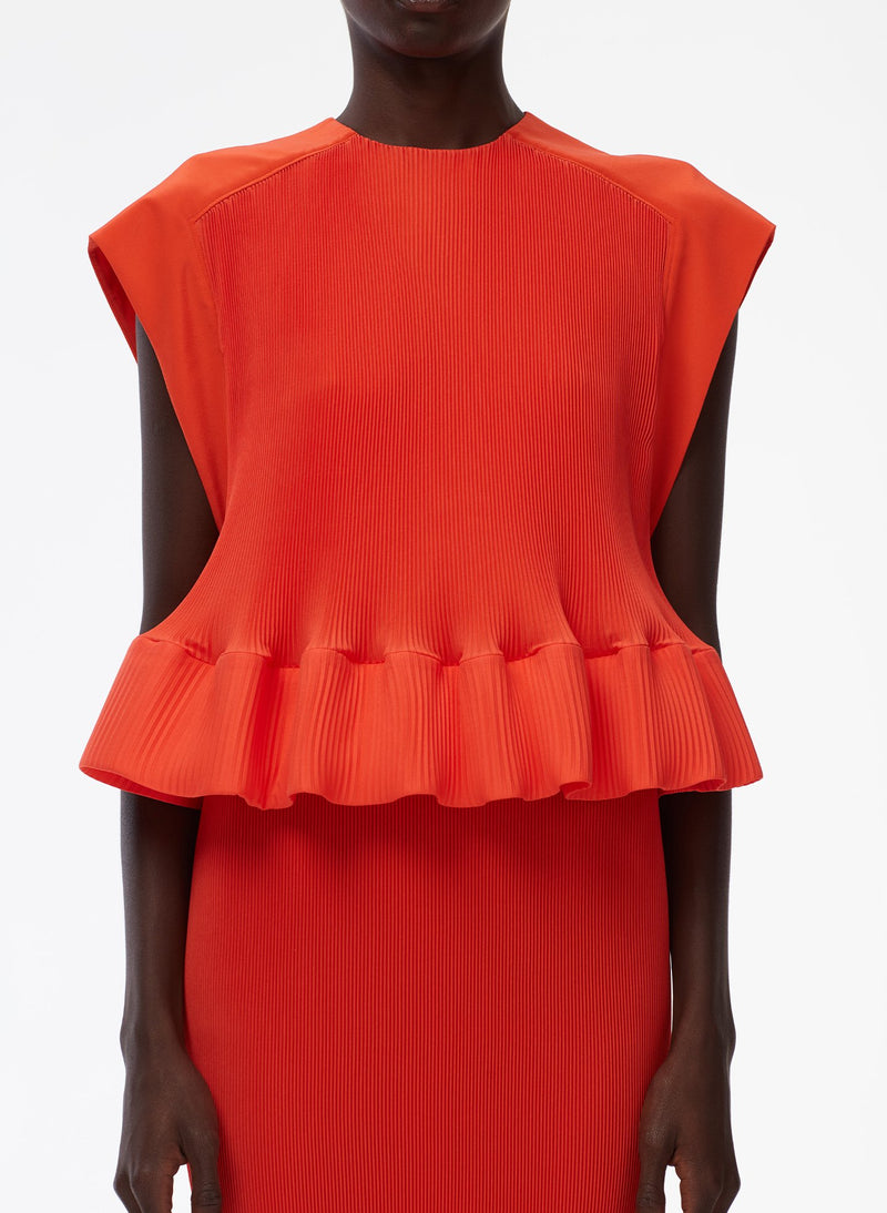 Pleated Dress Red Orange-5