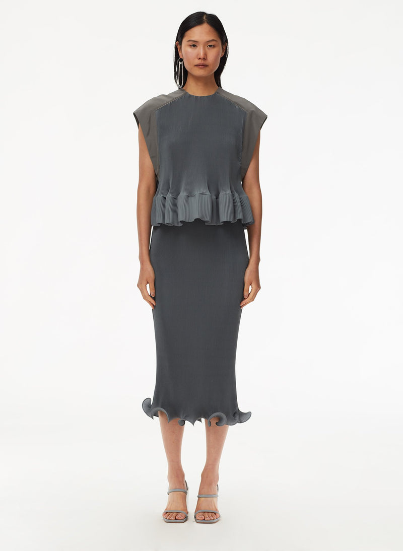 Pleated Dress Storm Grey-9