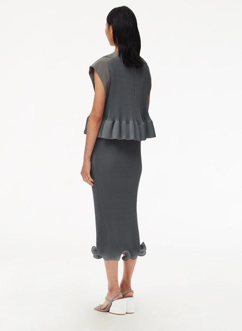 Pleated Dress Storm Grey-11