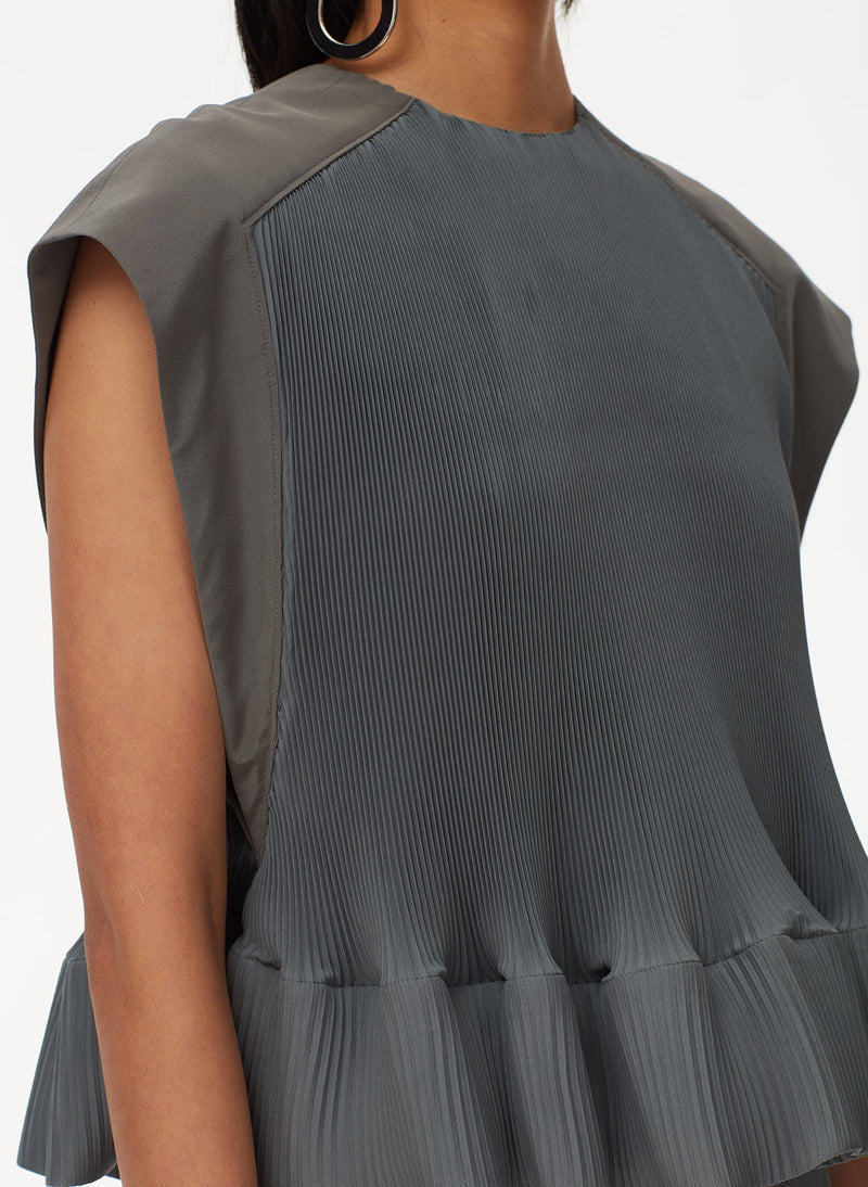 Pleated Dress Storm Grey-12