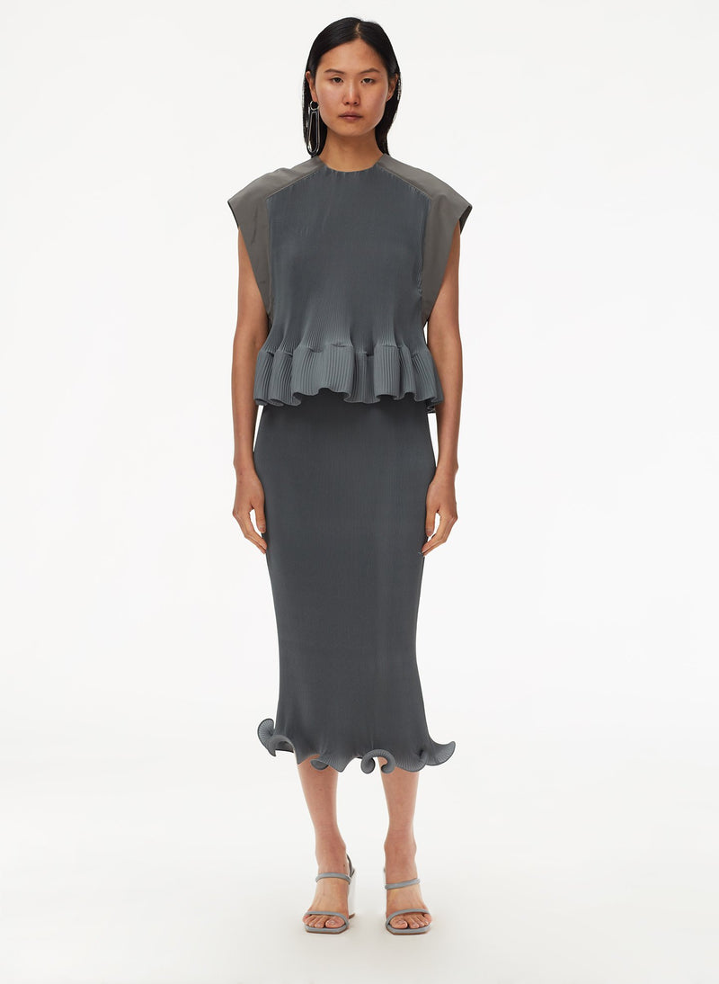 Pleated Dress Storm Grey-14