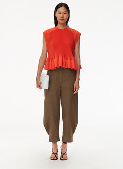 Pleated Short Sleeve Top Red Orange-1