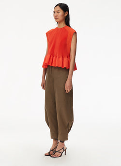 Pleated Short Sleeve Top Red Orange-2