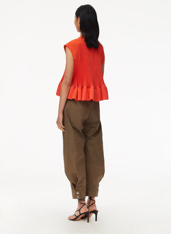 Pleated Short Sleeve Top Red Orange-3