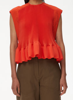 Pleated Short Sleeve Top Red Orange-4