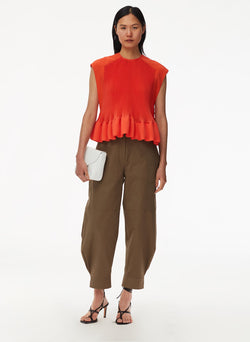 Pleated Short Sleeve Top Red Orange-5