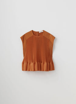 Pleated Short Sleeve Top Red Orange-8
