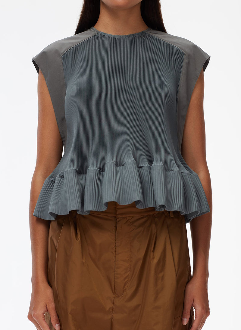 Pleated Short Sleeve Top Storm Grey-12