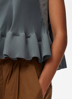 Pleated Short Sleeve Top Storm Grey-13