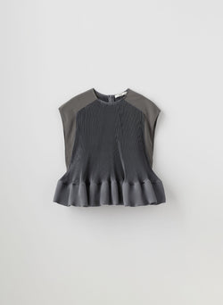 Pleated Short Sleeve Top Storm Grey-16