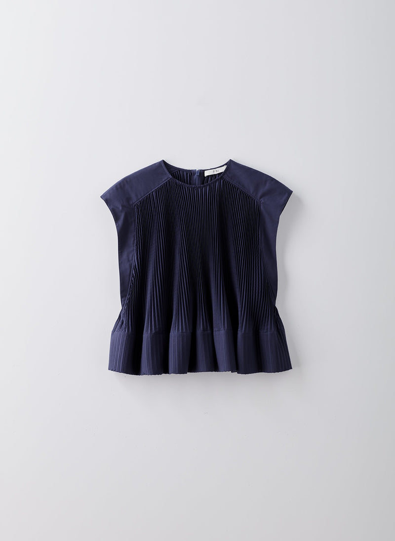 Pleated Cotton Top Navy-8