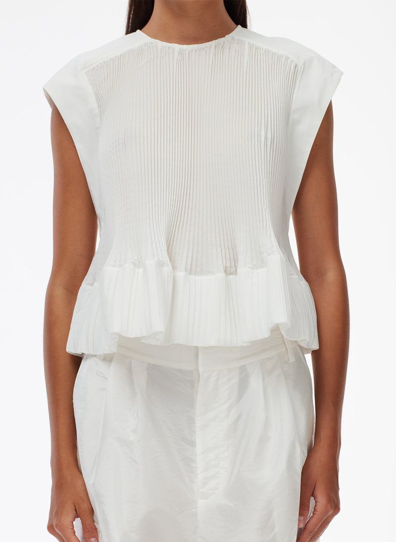 Pleated Cotton Top White-12