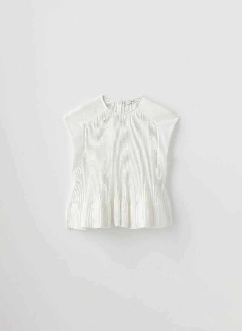 Pleated Cotton Top White-16