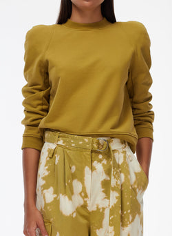 Sculpted Shoulder Sweatshirt Tan Ochre-5