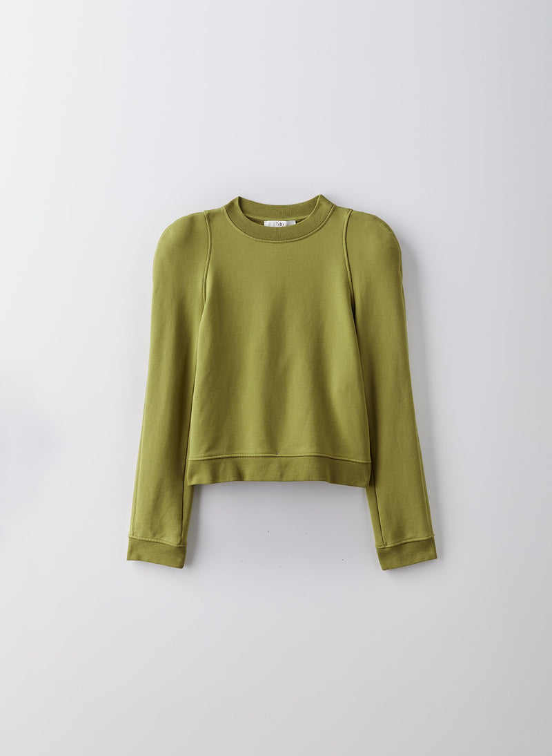 Sculpted Shoulder Sweatshirt Tan Ochre-8
