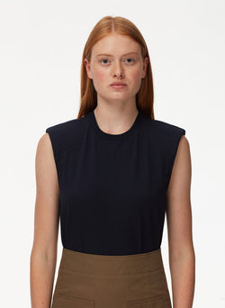 Sleeveless T-shirt with Shoulder Pads Navy-4
