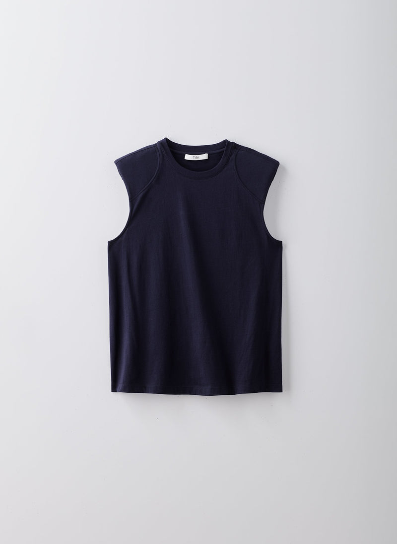Sleeveless T-shirt with Shoulder Pads Navy-8