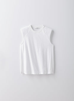 Sleeveless T-shirt with Shoulder Pads White-16