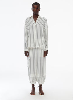 Anna Stripe Oversized Shirt Ivory/Black Multi-1