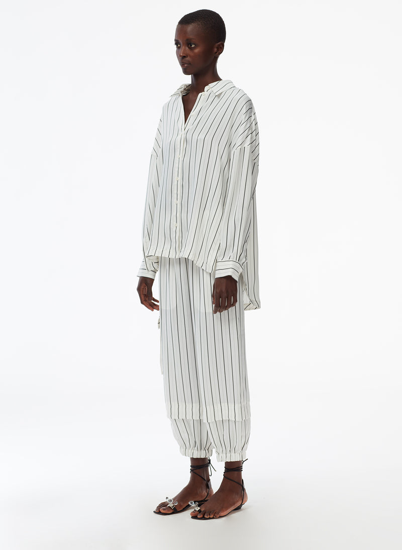 Anna Stripe Oversized Shirt Ivory/Black Multi-3