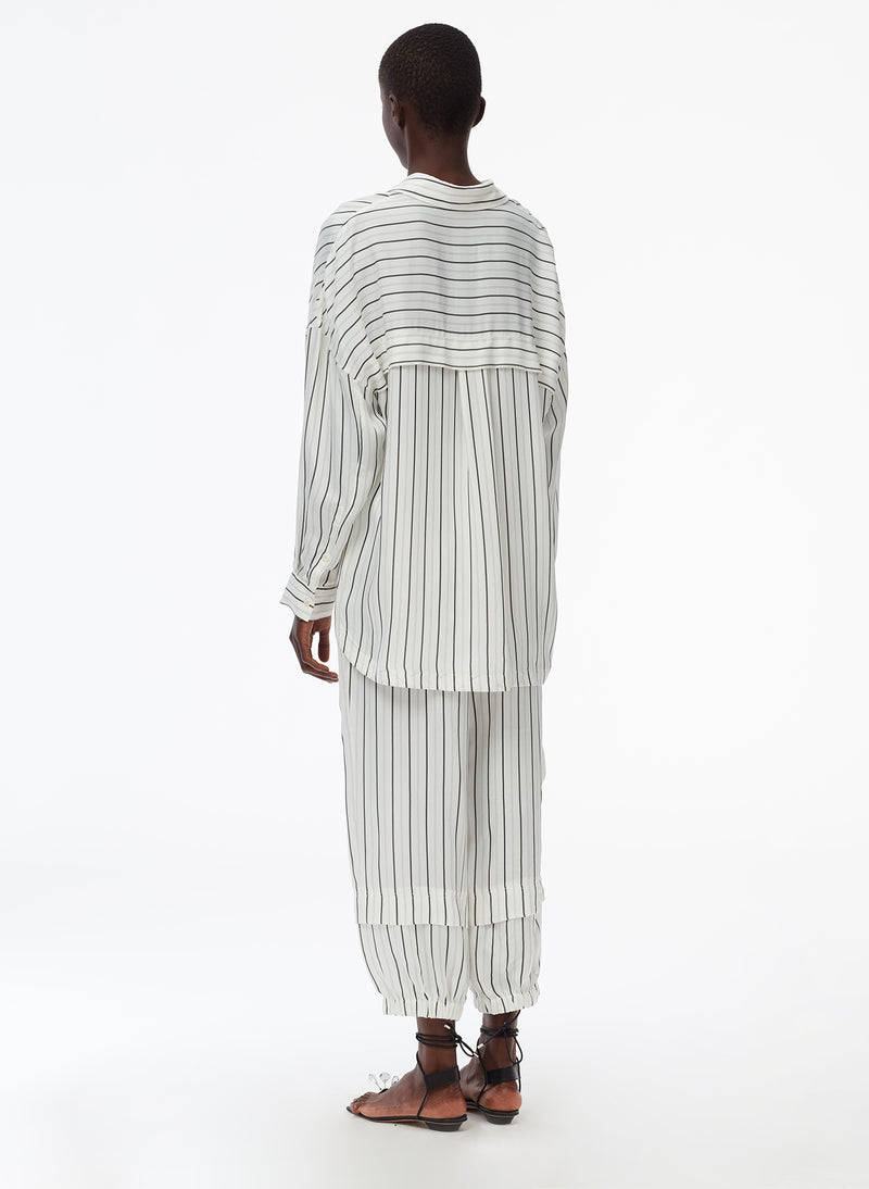 Anna Stripe Oversized Shirt Ivory/Black Multi-4