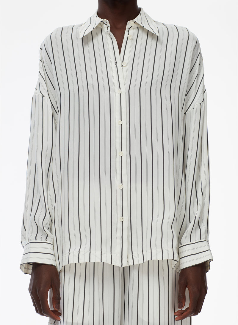 Anna Stripe Oversized Shirt Ivory/Black Multi-5