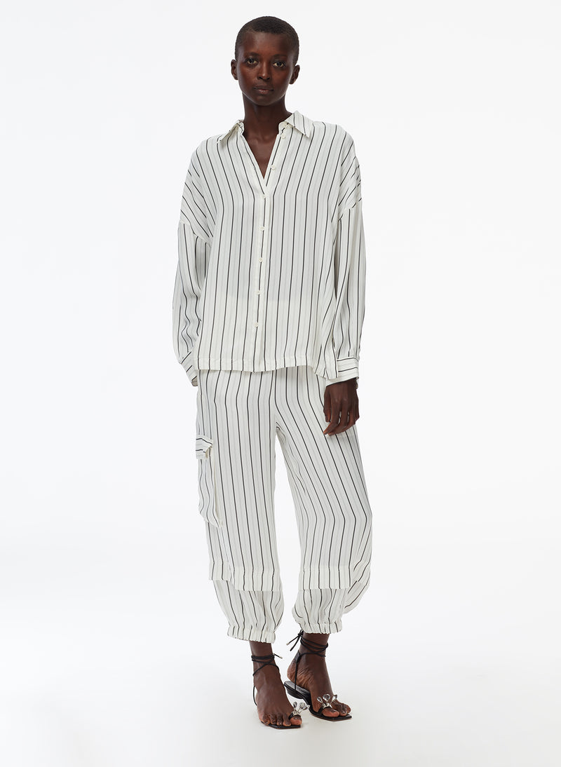 Anna Stripe Oversized Shirt Ivory/Black Multi-2
