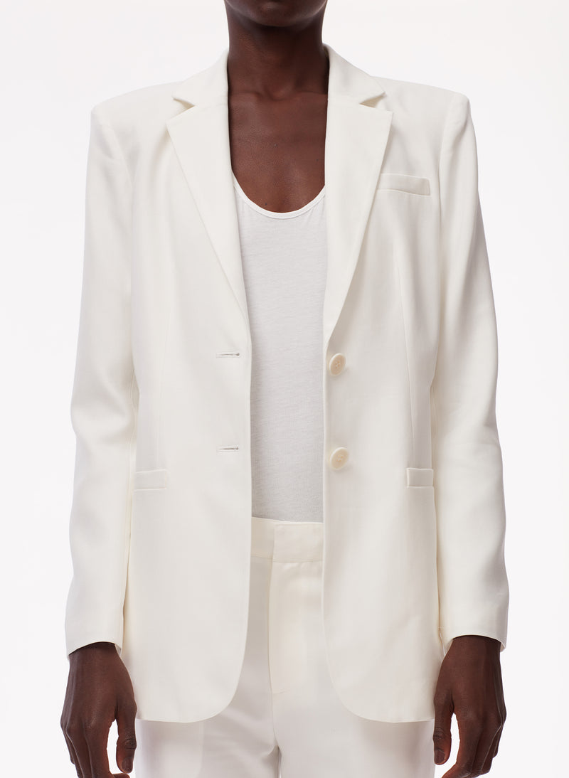 Soft Spring Suiting Cutout Blazer White-5