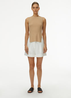 Giselle Stretch Openback Sweater Tank Latte-1