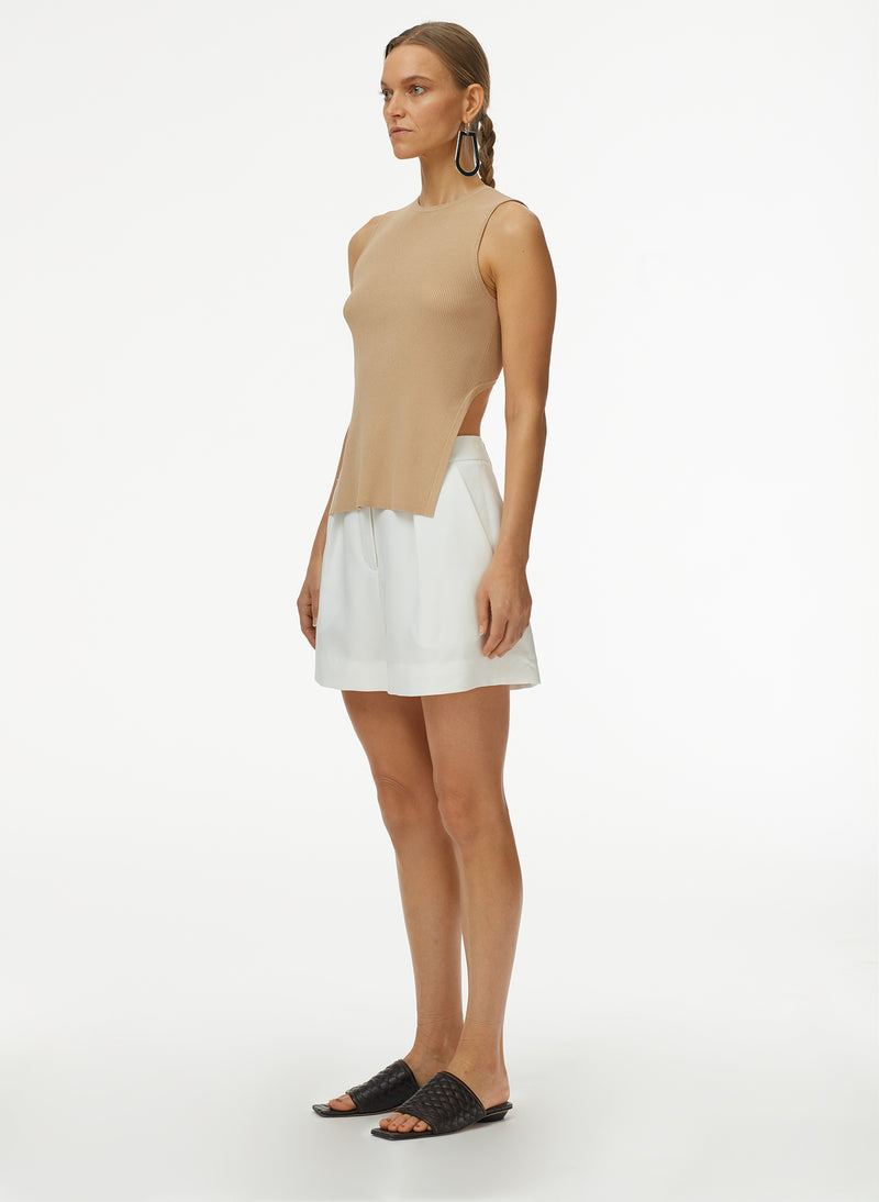 Giselle Stretch Openback Sweater Tank Latte-2