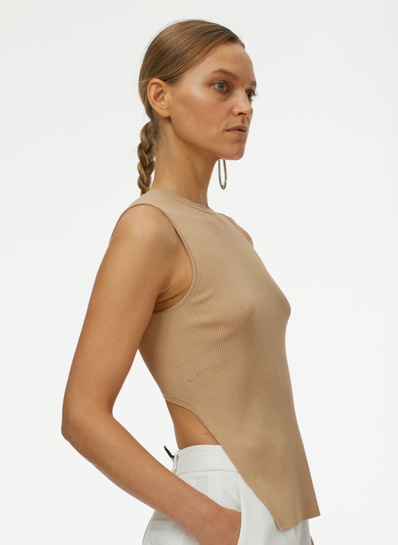 Giselle Stretch Openback Sweater Tank Latte-4