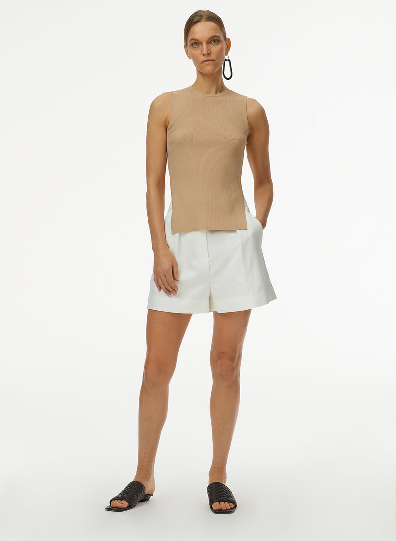 Giselle Stretch Openback Sweater Tank Latte-6