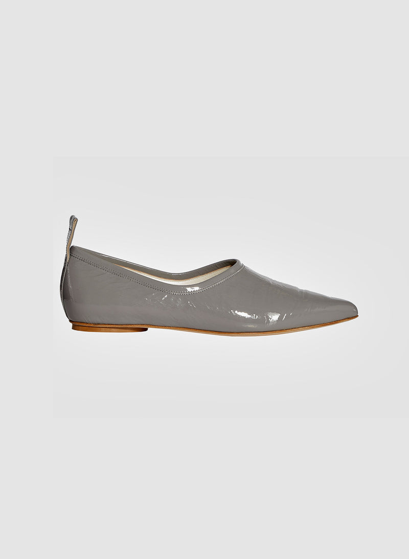 John Crinkled Patent Flat Heather Grey-1