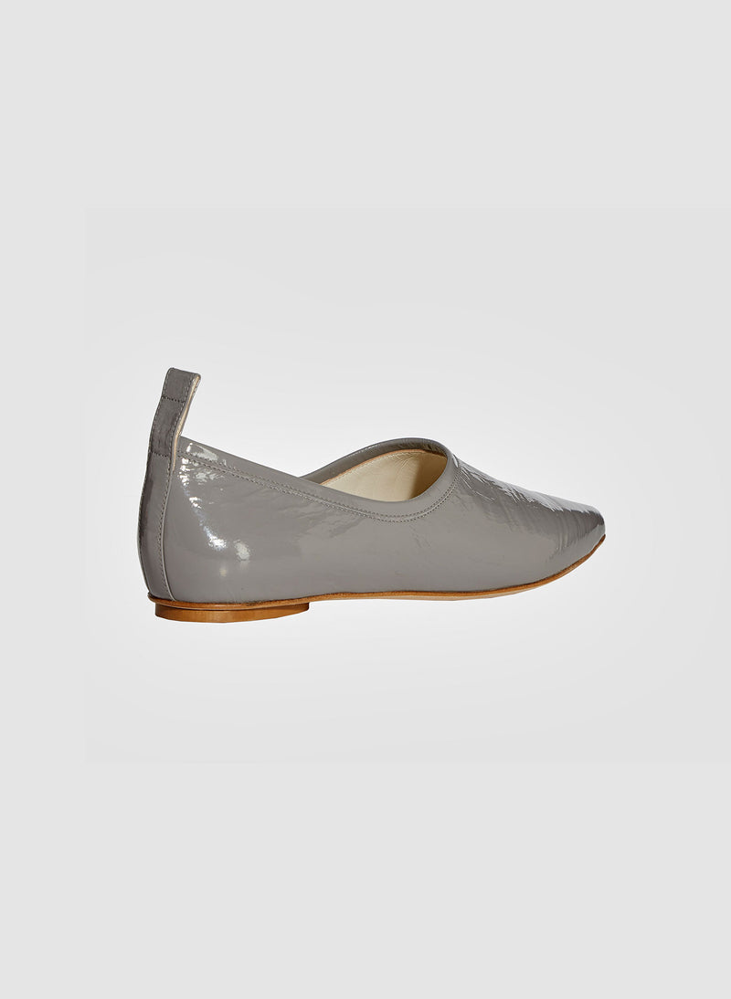 John Crinkled Patent Flat Heather Grey-2