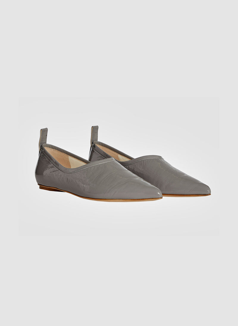 John Crinkled Patent Flat Heather Grey-3