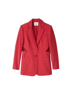 Tropical Wool Cut Out Blazer Red-1