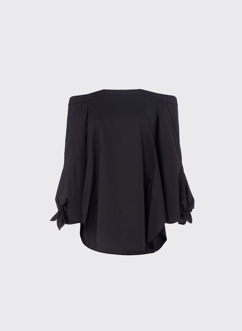 Satin Poplin Off-the-Shoulder Top Black-4