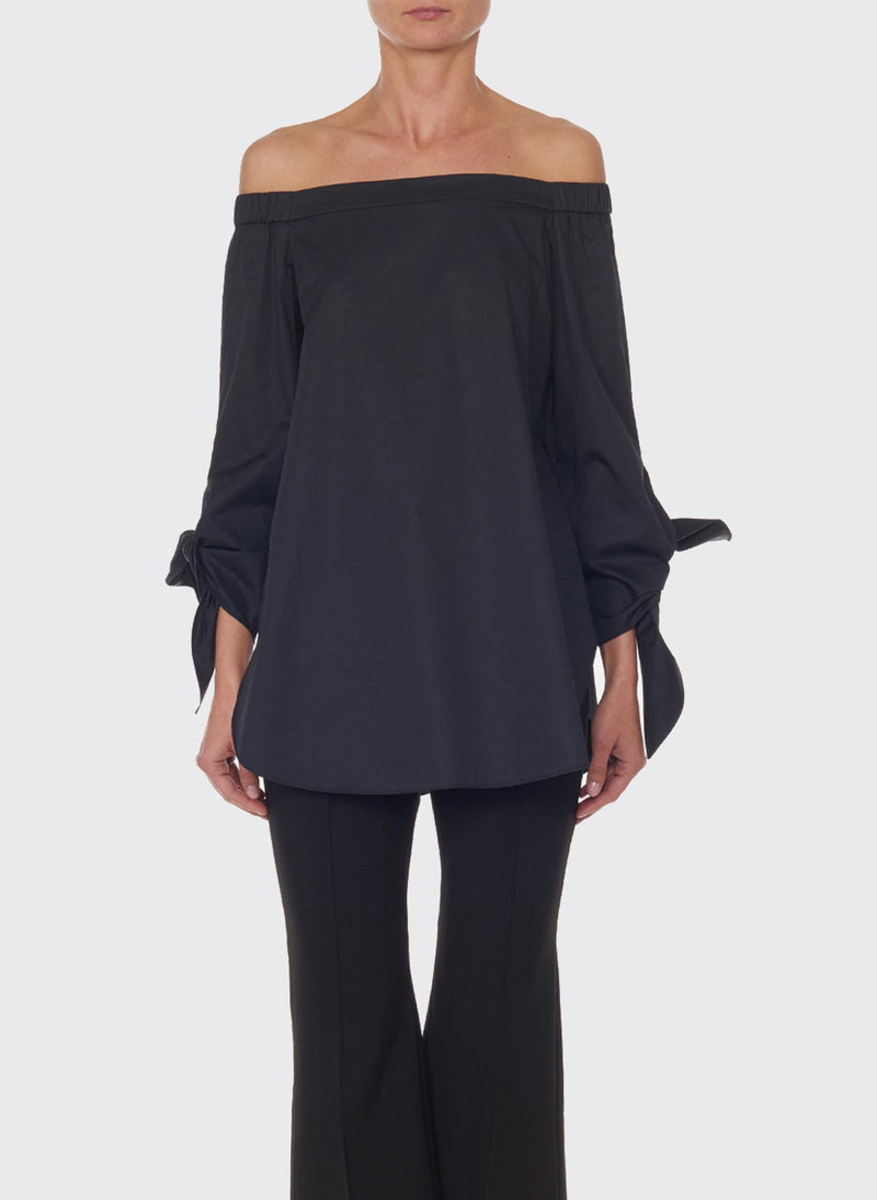 Satin Poplin Off-the-Shoulder Top Black-1
