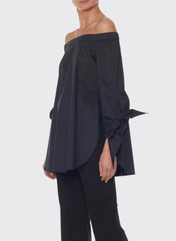 Satin Poplin Off-the-Shoulder Top Black-3
